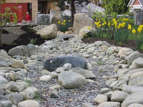 Dry River Bed With Island Landscapes Gardens 400 x 300