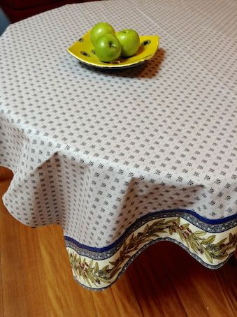 Melanie Black All Over Tablecloth Acrylic Coated Tablecloth With