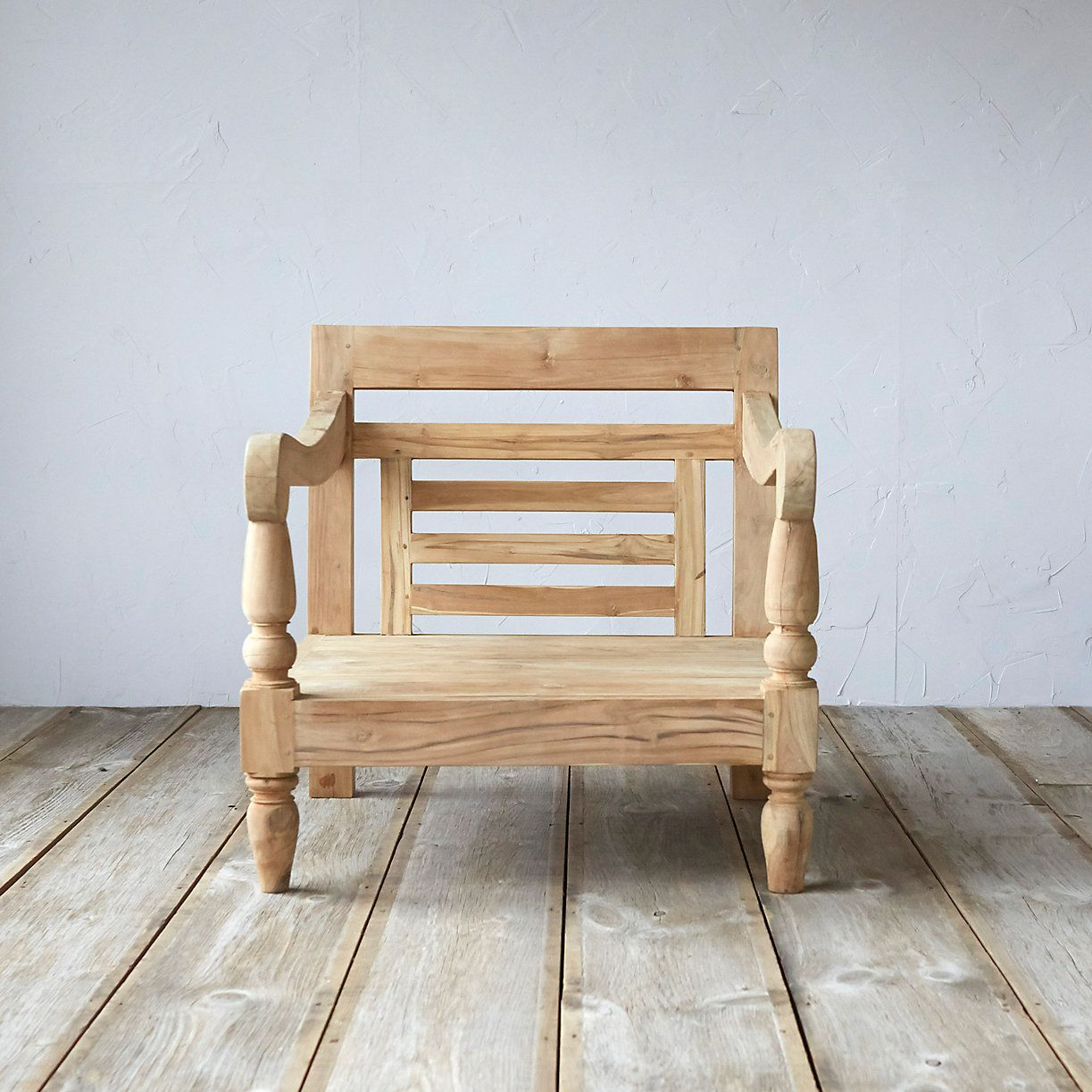 With Scrolled Arms Inspired By Traditional Javanese Carving This Natural Teak Chair Is An Elegant Addition To The Patio Un Outdoor Cushions Teak Teak Chairs