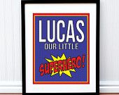 Superhero Print - Kids Room- Personalized Our Little Superhero Children's Print - 11 x 14