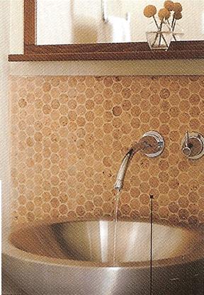 Cork Backsplash Also Cork Plank Floor I M Into This Texture Found Via Designwonderland Net Via Sunset Kitchen Table Settings Backsplash Wallpaper Diy Tile