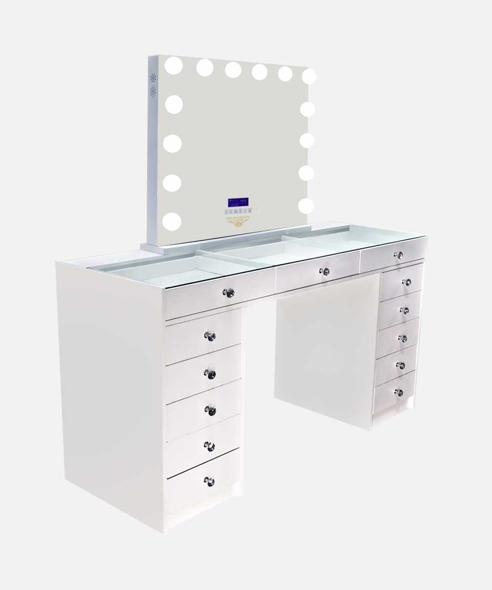 (1) LARGE DESK WITH HOLLYWOOD DELUXE MIRROR XL WITH