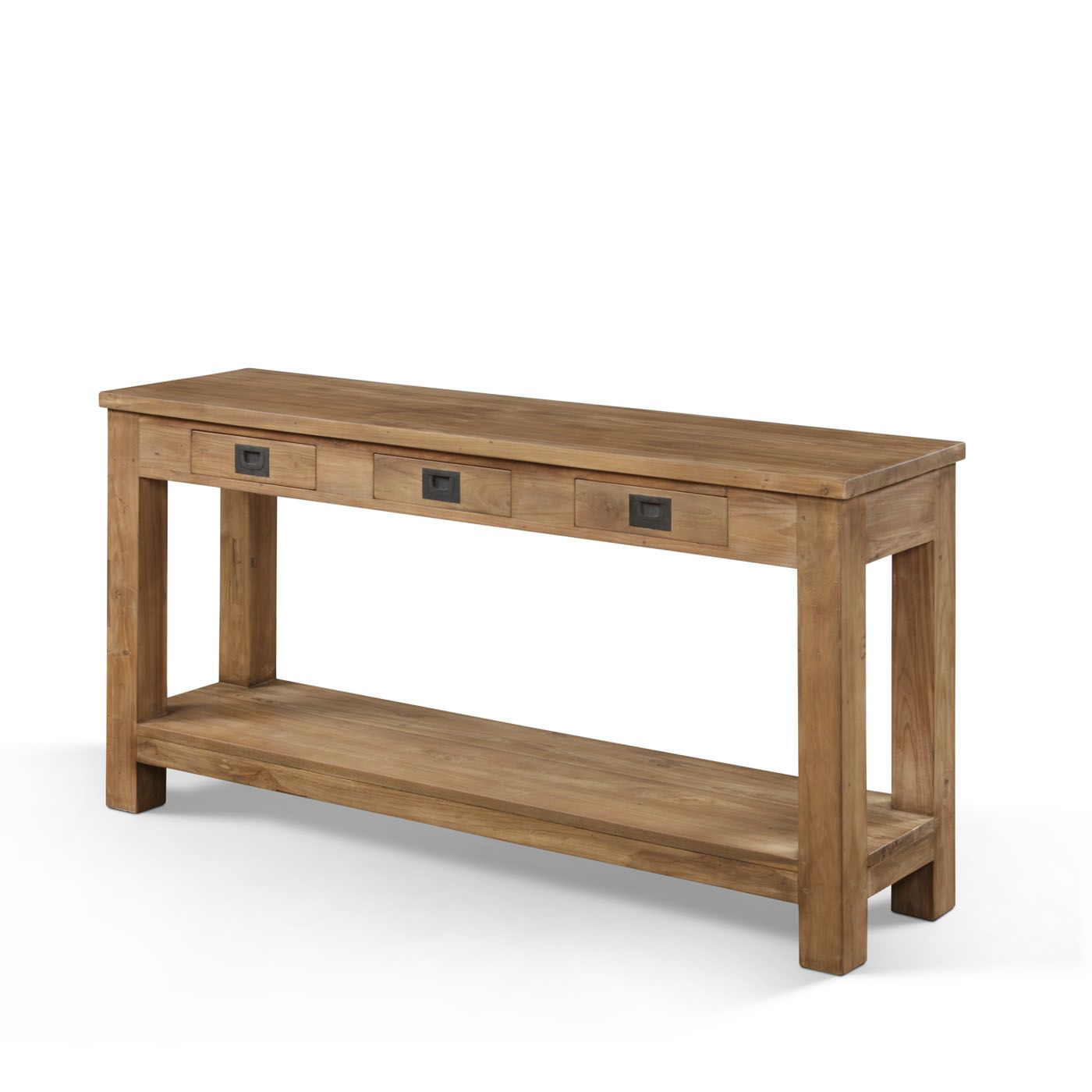 Furniture Long And Narrow Oak Console Table With Storage Drawer Metal Handle For Hallway Ideas