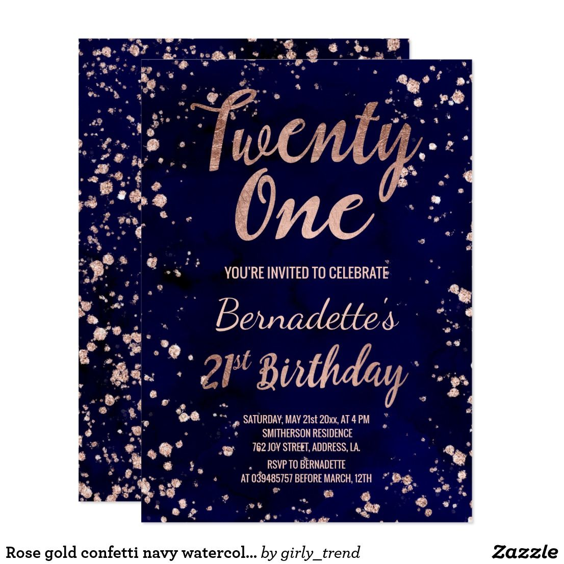 Rose Gold Confetti Navy Watercolor 21st Birthday Invitation Zazzle Com With Images 21st Birthday Invitations Rose Gold Confetti 21st Birthday Cards