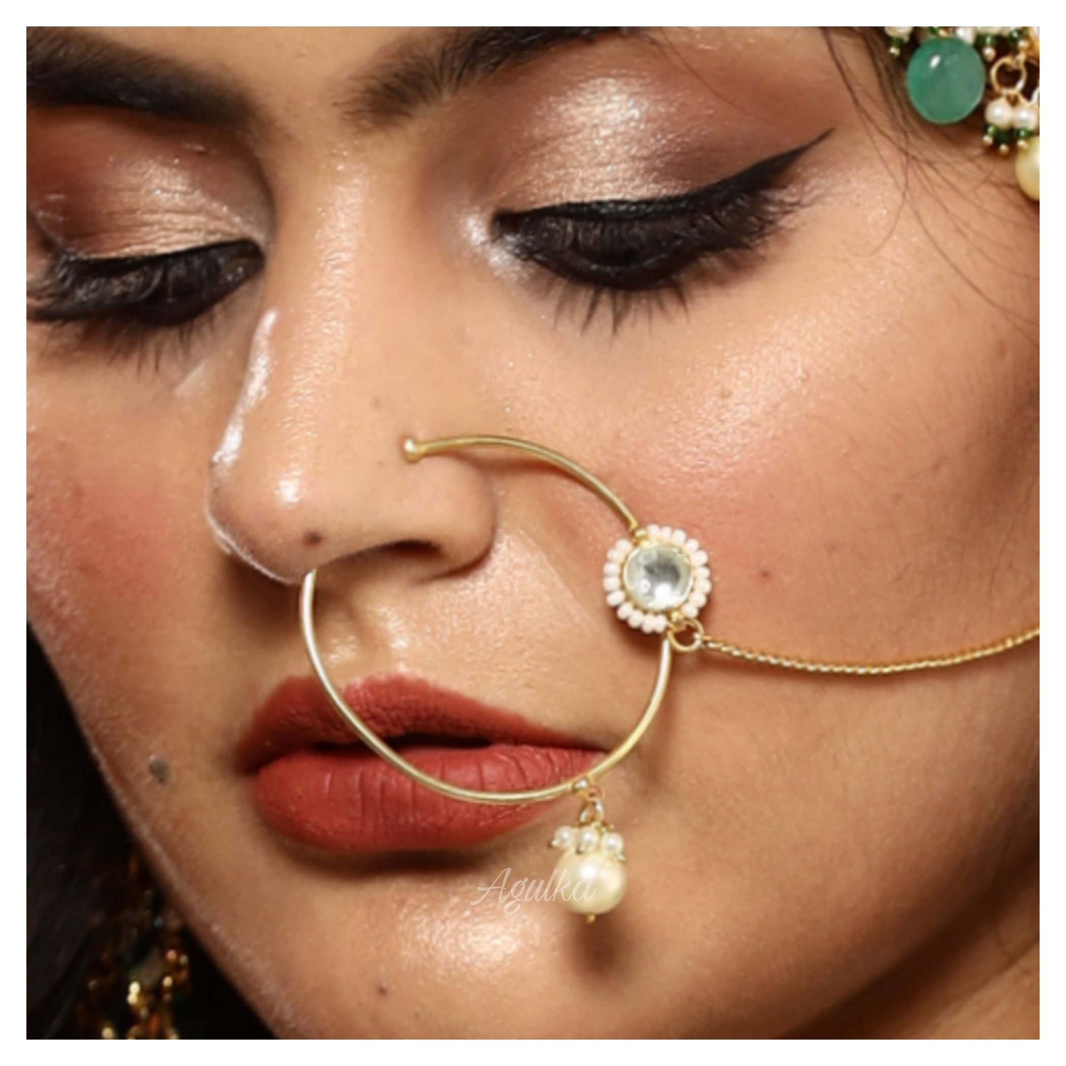 2 pcs Gold Plated Red Stone Nose Ring