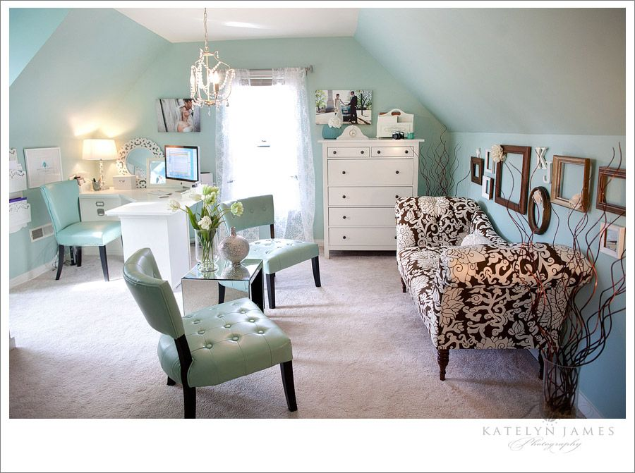 -Wall color is Waterscape from Sherwin Williams.  -Desk: Pottery Barn  -Settee: Target  -Entry Table: Pier One   -Tall Dresser: Ikea  -Teal Chair:  Marshalls  -Mirrored Table: Target.