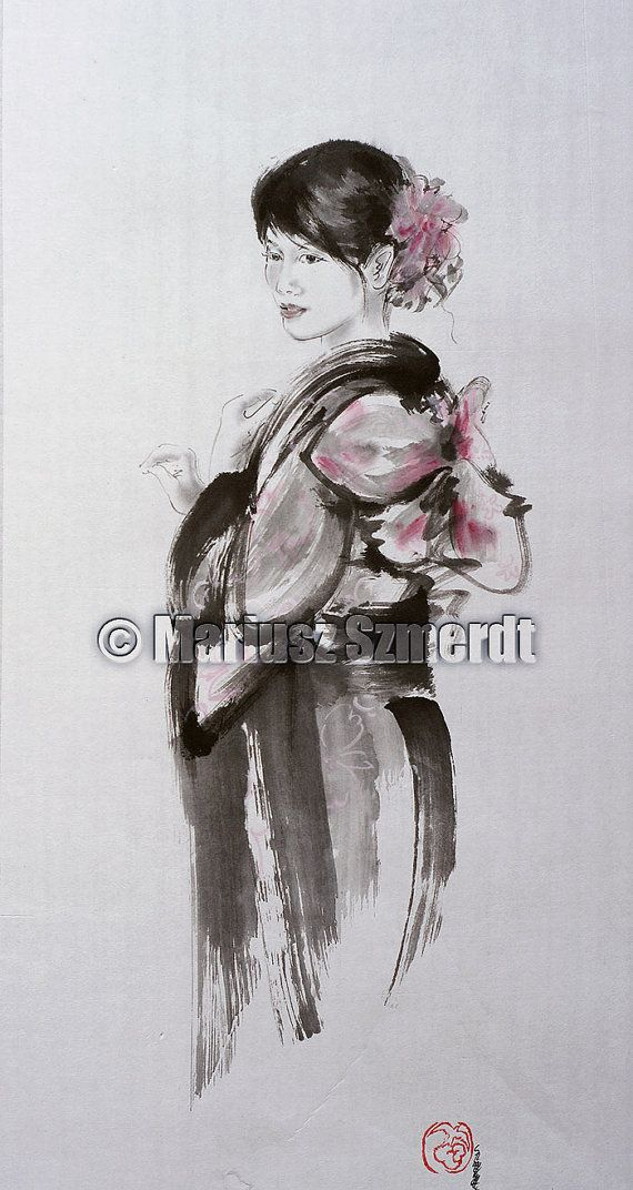 Geisha Geisha Watercolor Japan Art Asian Woman Watercolor Art