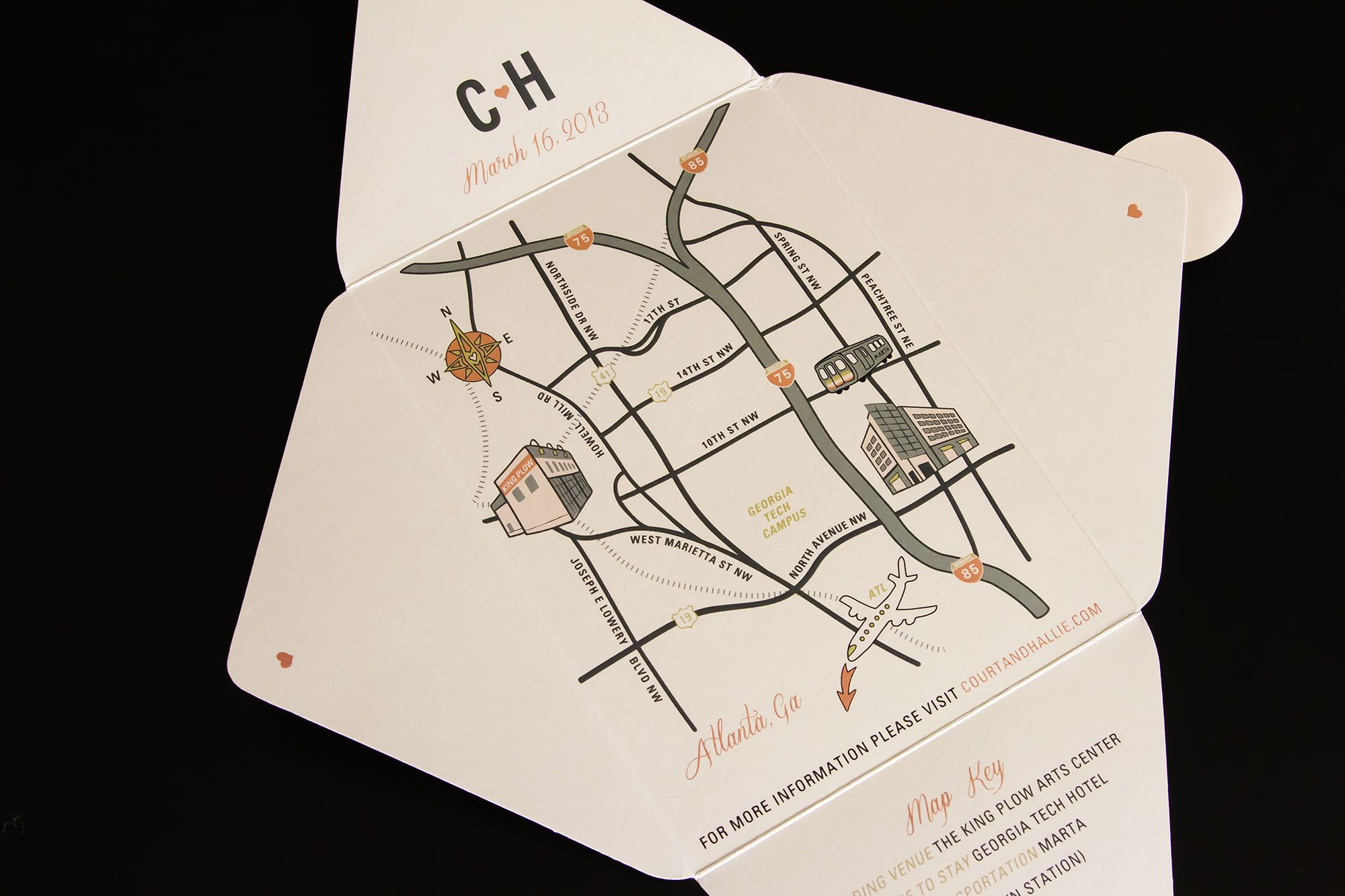 Delightful Actual Invitation Suite: Custom Map Illustration Of Atlanta With Monogram  In Peach, Gold And