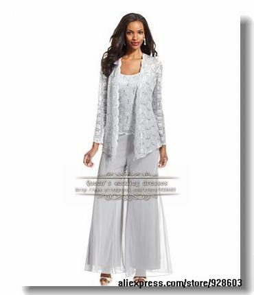 Tres piezas de la madre de la novia pantalones trajes con chaqueta de encaje c98340518a52
