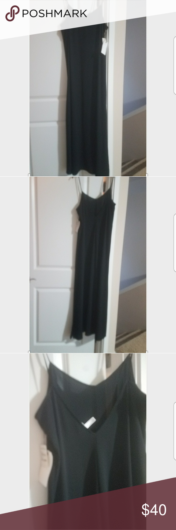 Long black spaghetti strap dress simple long black dress brand new
