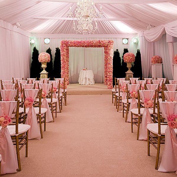 Ideas For A Small Wedding Ceremony: Gold Chiavari Chairs And Light Pink Sashes. Beautiful