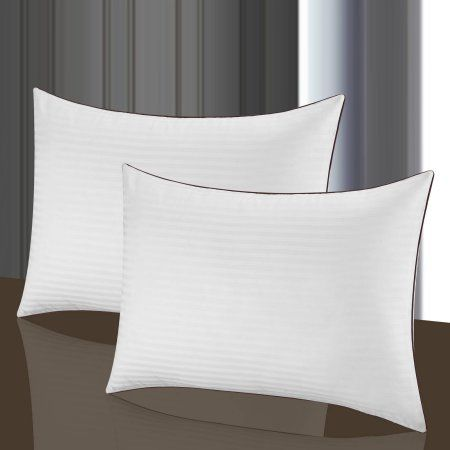 Chic Home Oversized 2pk 100 Percent Egyptian Cotton 500 Thread Count Striped Hotel Pillow Overfilled Hypoallergenic Fill White Products Hotel Pillows Pillows Bed Pillows