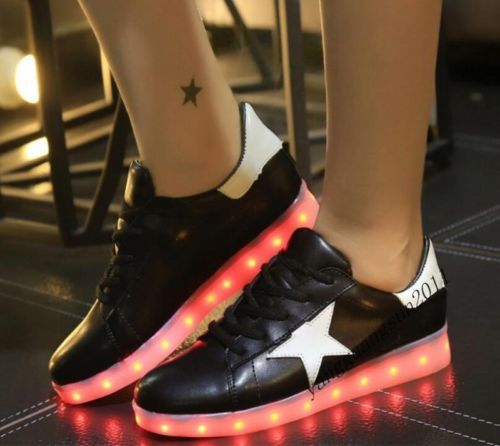 Hot Sale Womens Fashion LED Light Usb Charging Lace Up Stars Pu Leather Shoes | eBay
