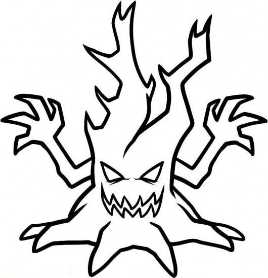 Scary Halloween Trees Scary Halloween Tree Coloring Pages