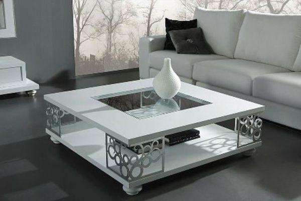 Couchtisch Wohnzimmer Weisses Design Ornamente Glas Vase