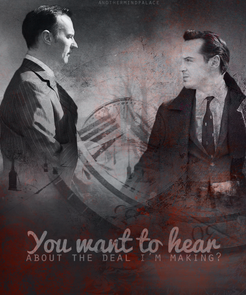 Mycroft & Moriarty. You wanna know, know that it doesn't hurt me?You wanna hear about the deal I'm making?