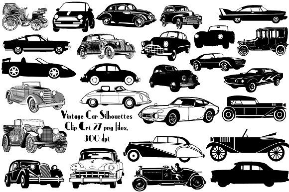 Vintage Car Silhouette Clipart By Frankiesdaughtersdesign On