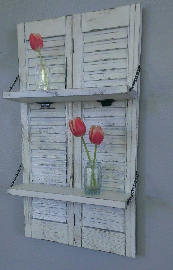 Shabby Shelf White Chic Unique Wood Shutter By Threetwigsdesigns