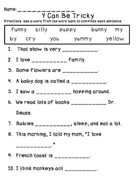 Sounds For Y Fill In The Blank English Worksheets For Kids