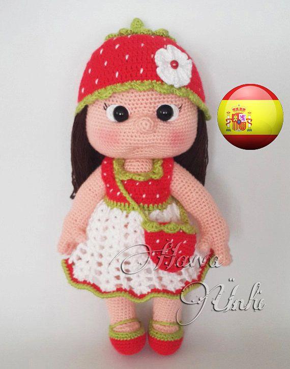 Patrón Español - Muneca Mia y Vestido Fresa | Crochet | Pinterest ...