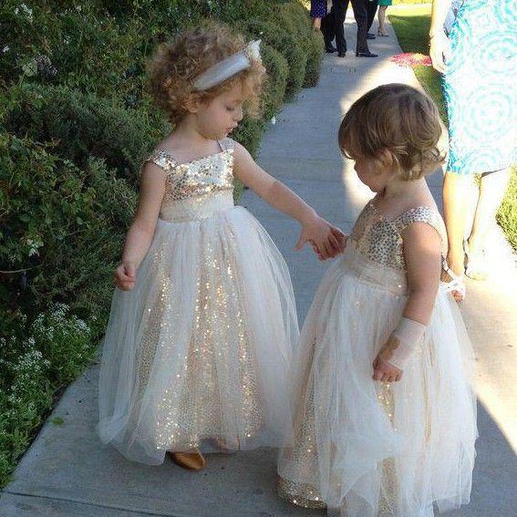 107b321623 Dressywomen offers high quality Sweet Floor Length Princess Gold Sequins  Flower Girl Dress