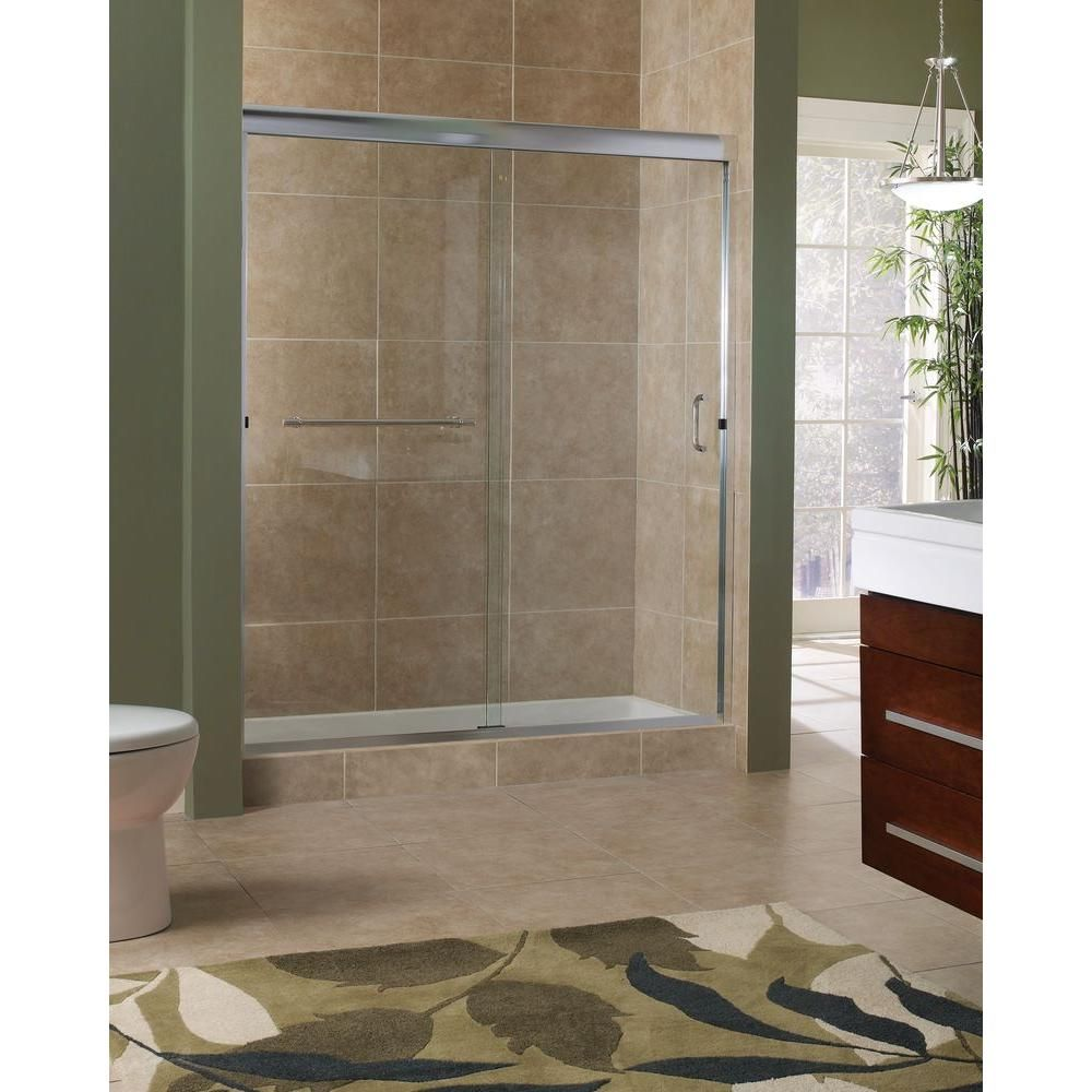 Foremost Marina 60 In X 76 In H Semi Frameless Sliding Shower Door In Silver With 3 8 In Clear Glass Frameless Sliding Shower Doors Shower Doors Shower Sliding Glass Door