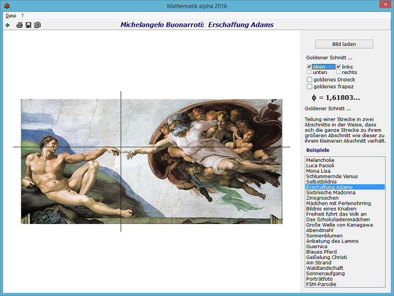 "Michelangelo - Die Erschaffung Adams. Das Programm ""Mathematik alpha ..."