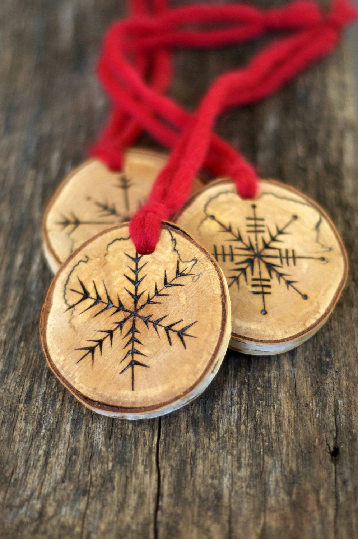 Tree Branch Christmas Ornaments - Snowflake - Set of 3 - Large Size. $40.00, via Etsy.