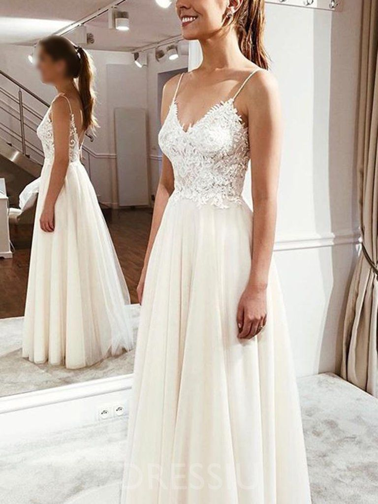 f47fc0f59c Sleeveless Appliques Spaghetti Straps Floor-Length Hall Wedding Dress –  dressiu