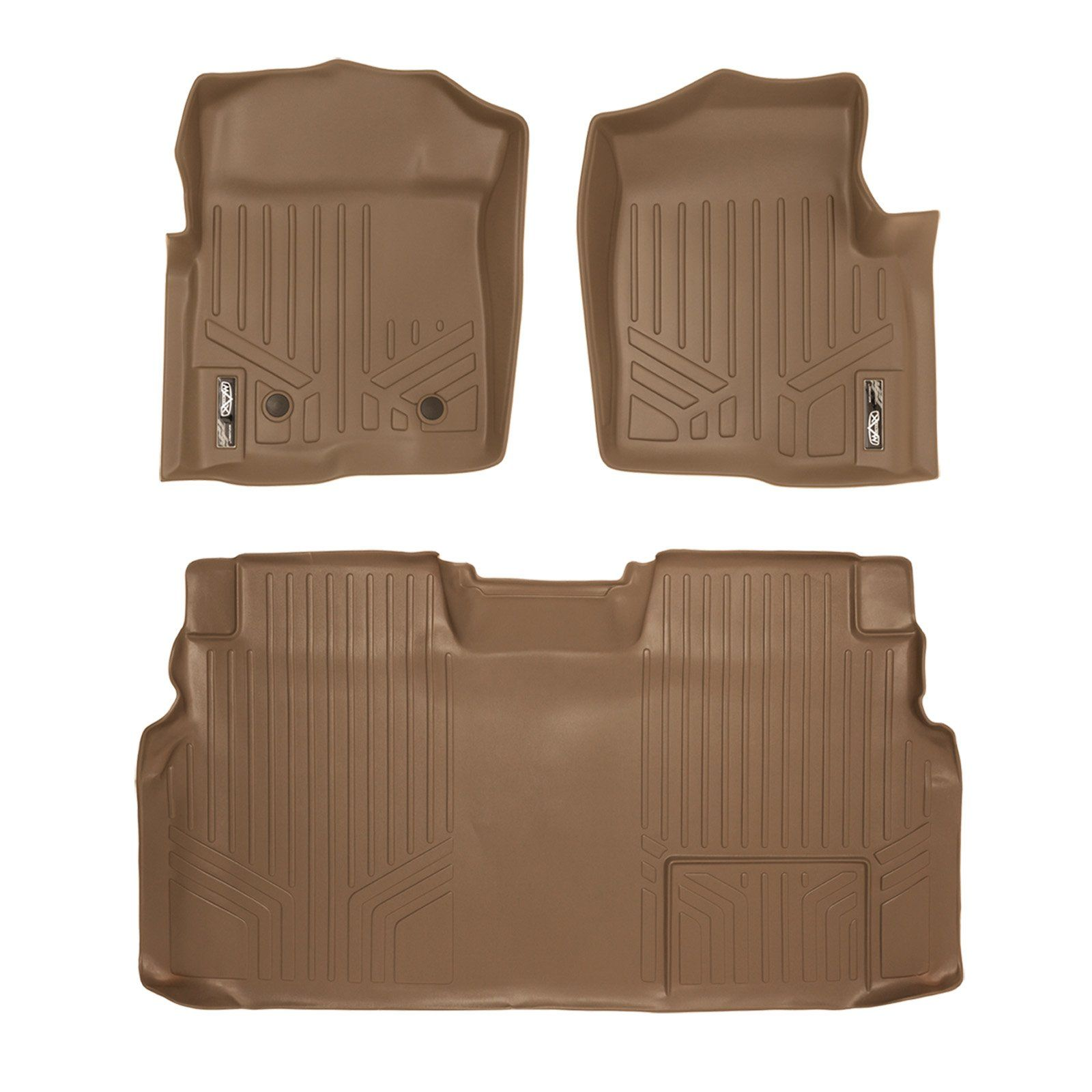 MAXLINER Floor Mats 2 Row Liner Set Tan for 20112014 Ford