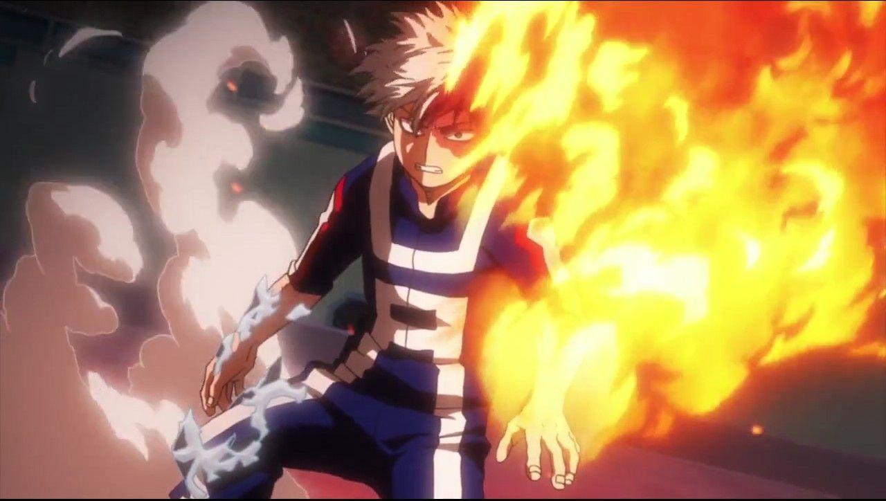 Todoroki using his left side | My Hero Academia | Hero