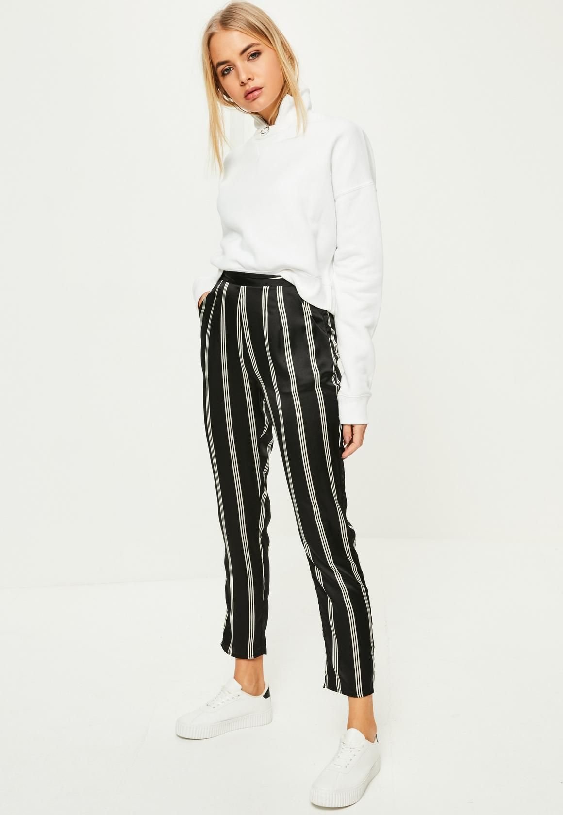 01cfffce0 Missguided - Black Striped Satin Cigarette Pants >> cuff them to make it  look like kyle's celine pants
