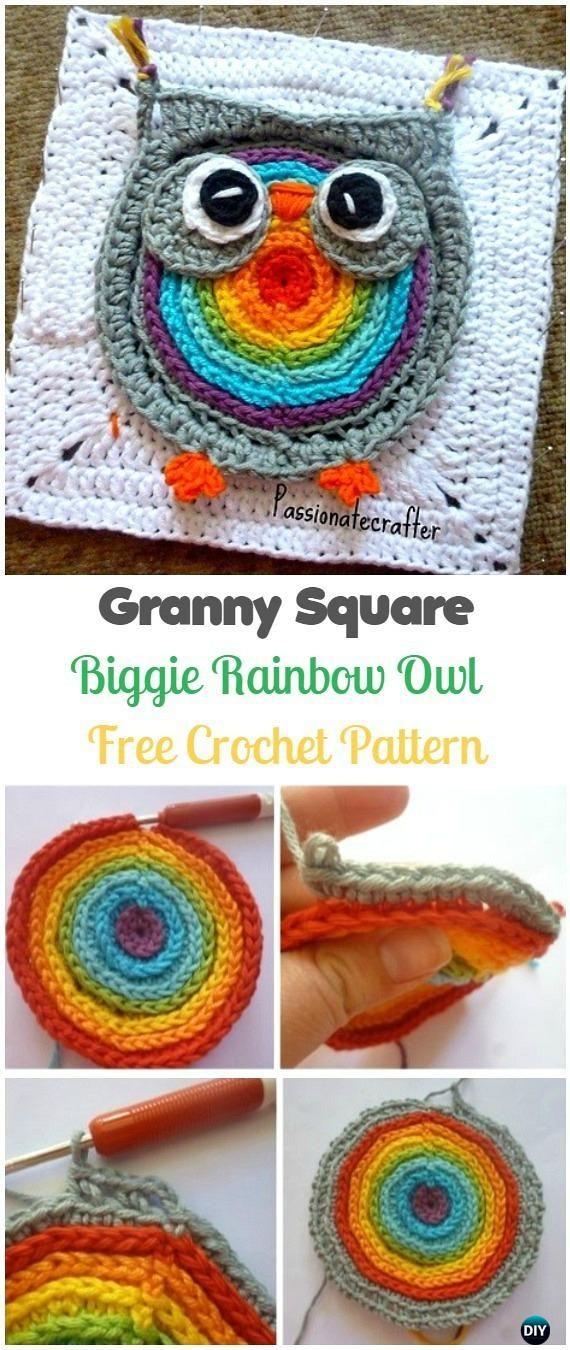 Crochet Biggie Rainbow Owl Granny Square Free Pattern Crochet