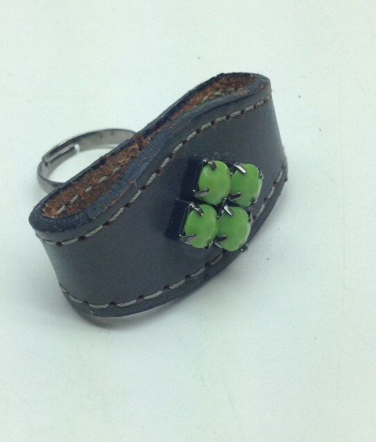 Leather ring with green rhinestonesadjustable by LangbeinDesigns