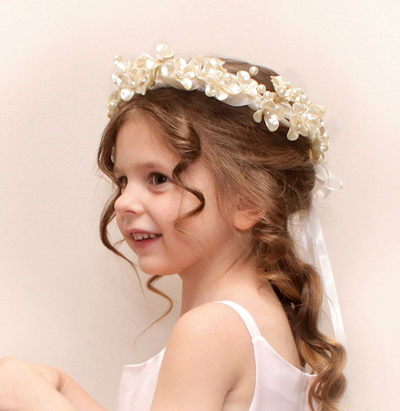 Fall Wedding Hairstyles With Flower Crown: Ivory Beaded Pearl Flowers