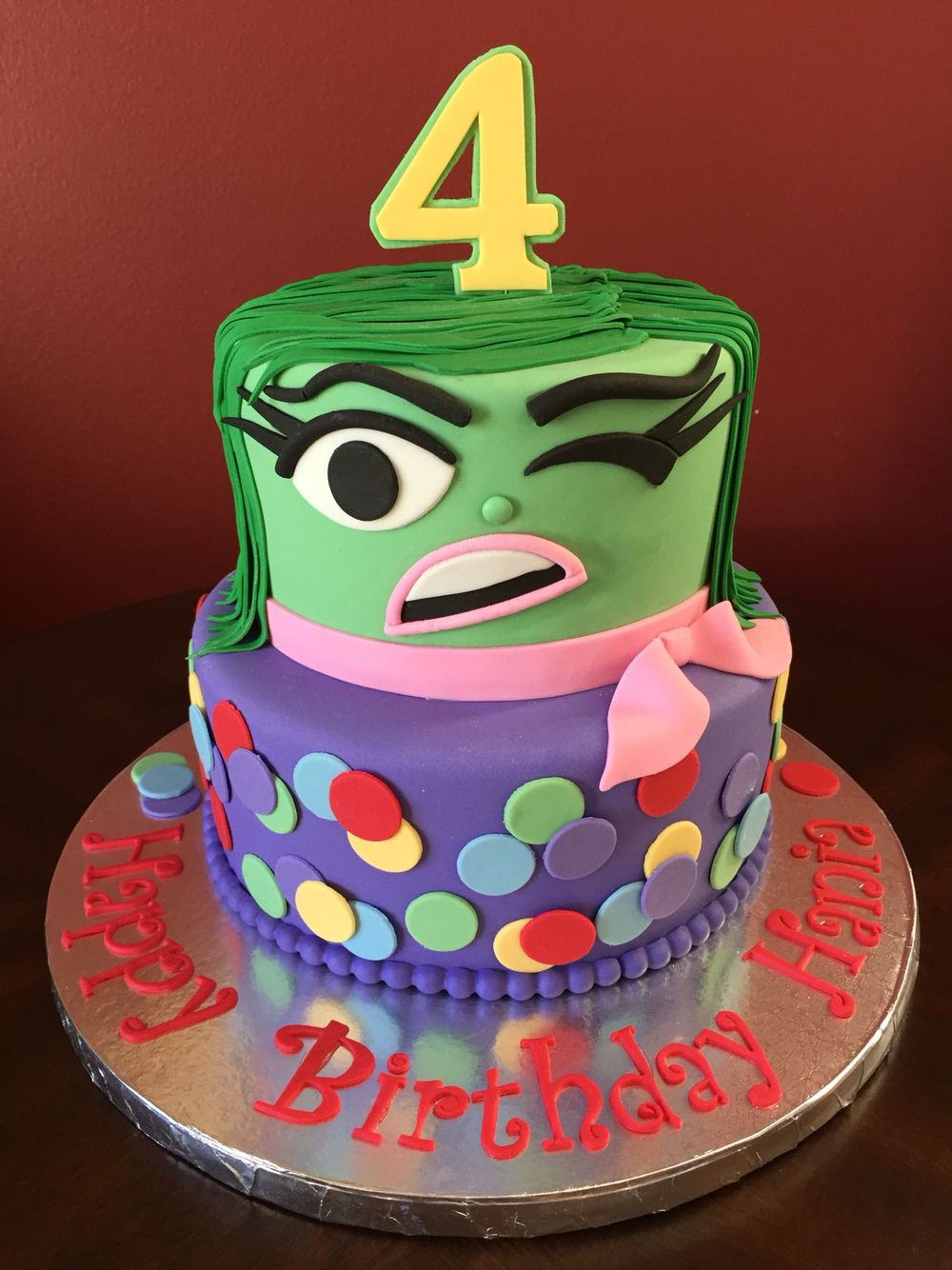 Inside Out Disgust Birthday Cake