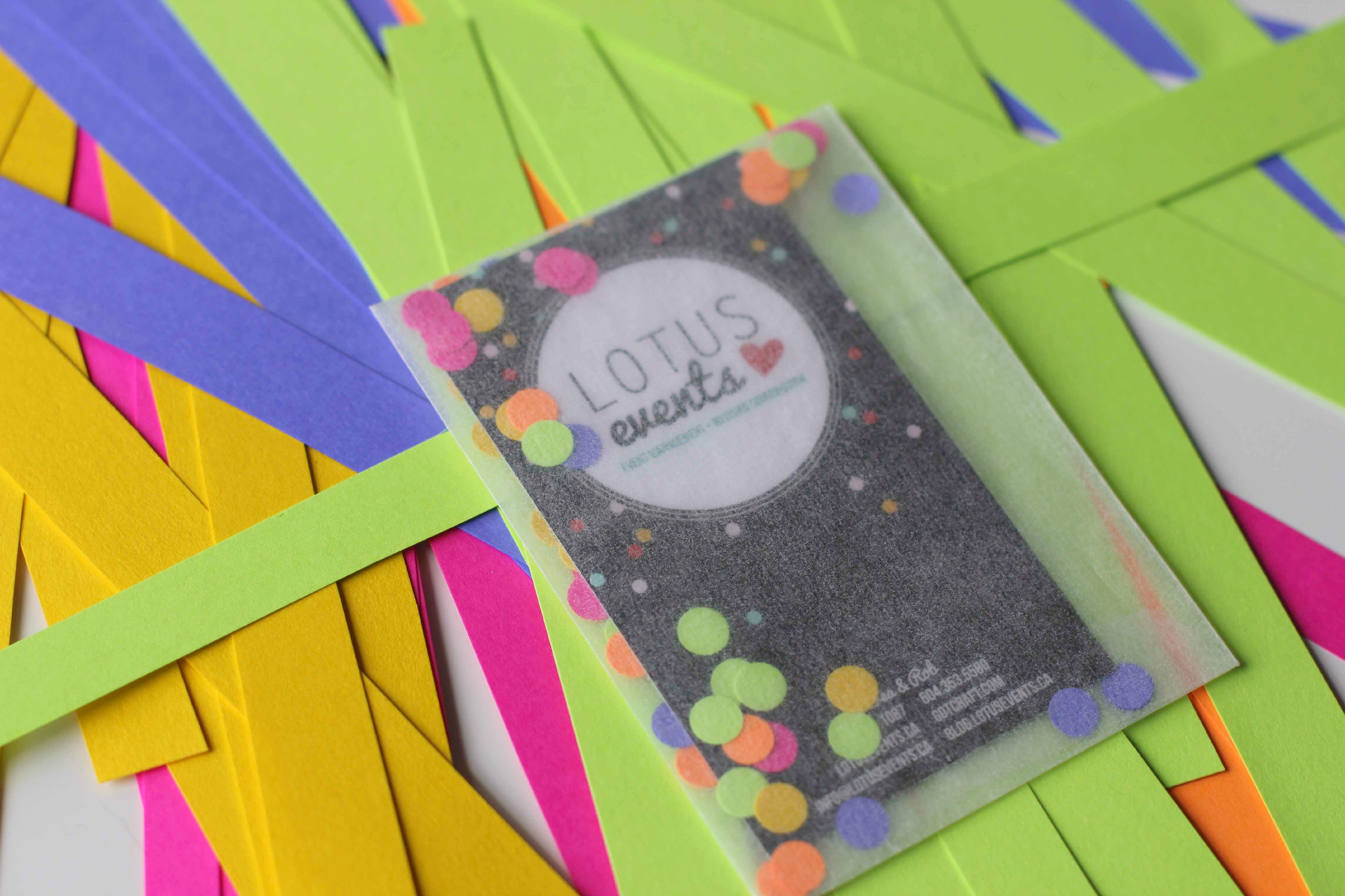 diy  confetti business cards  business card design