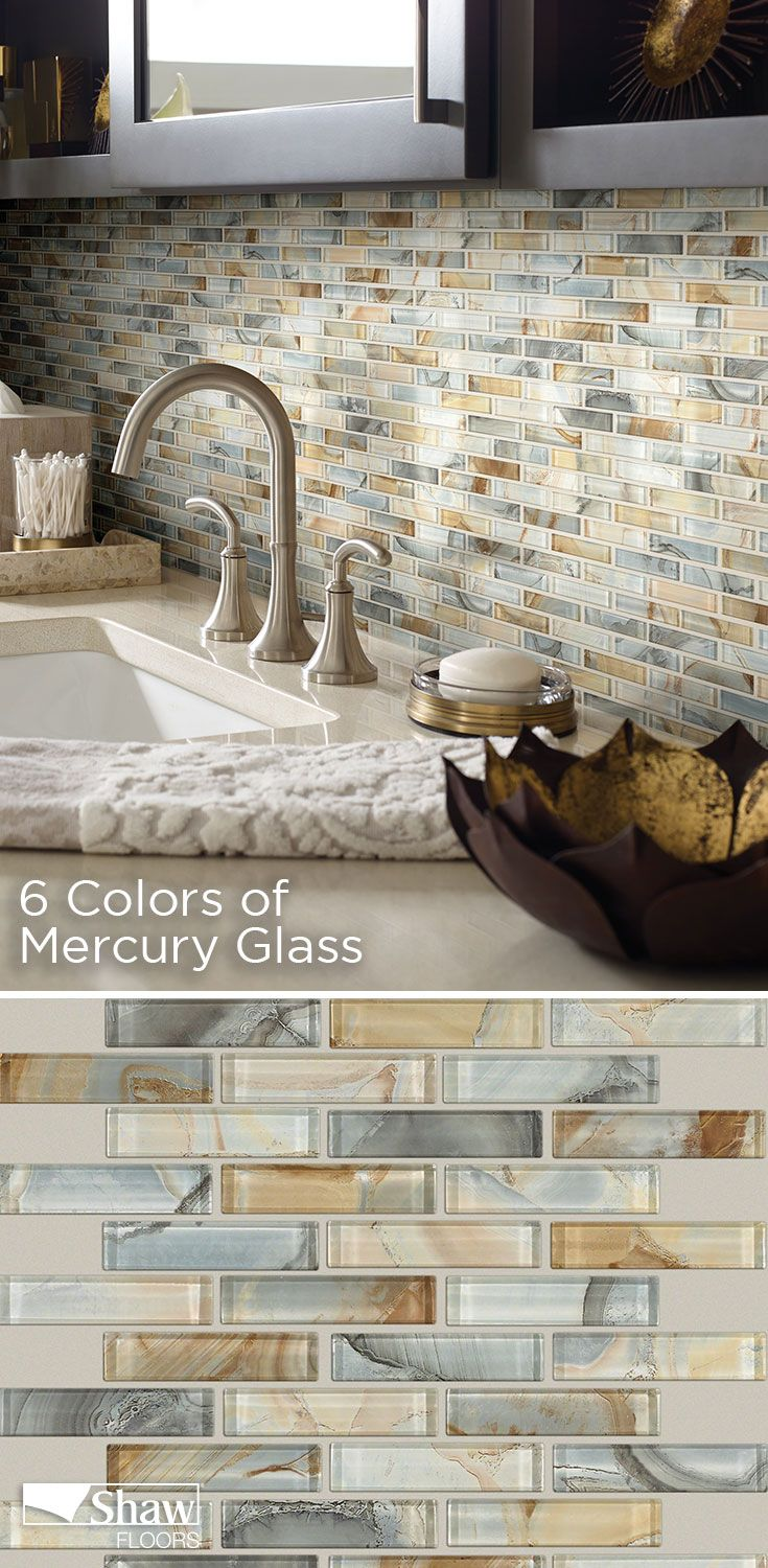 Mercury Glass Tile Is A Staggered Glass Mosaic Offered In Six Multi