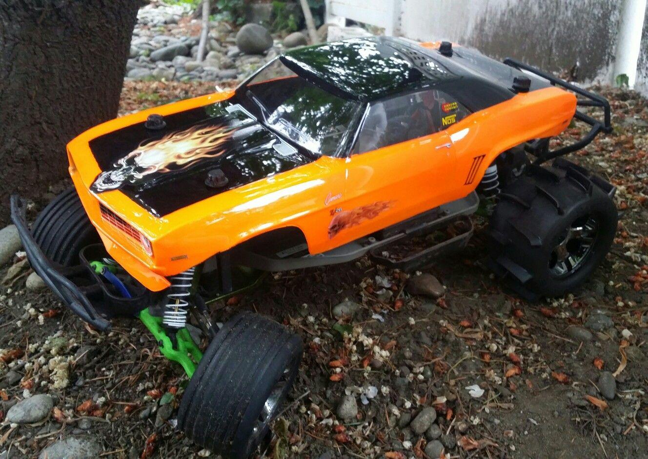 Modified Traxxas Slash 2x4 With 69 Comaro Body Paddle Tires