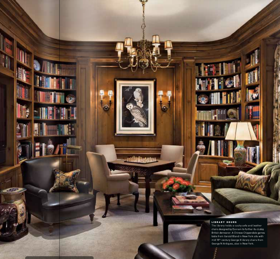 masculine study game table, armchair, bookshelves Home