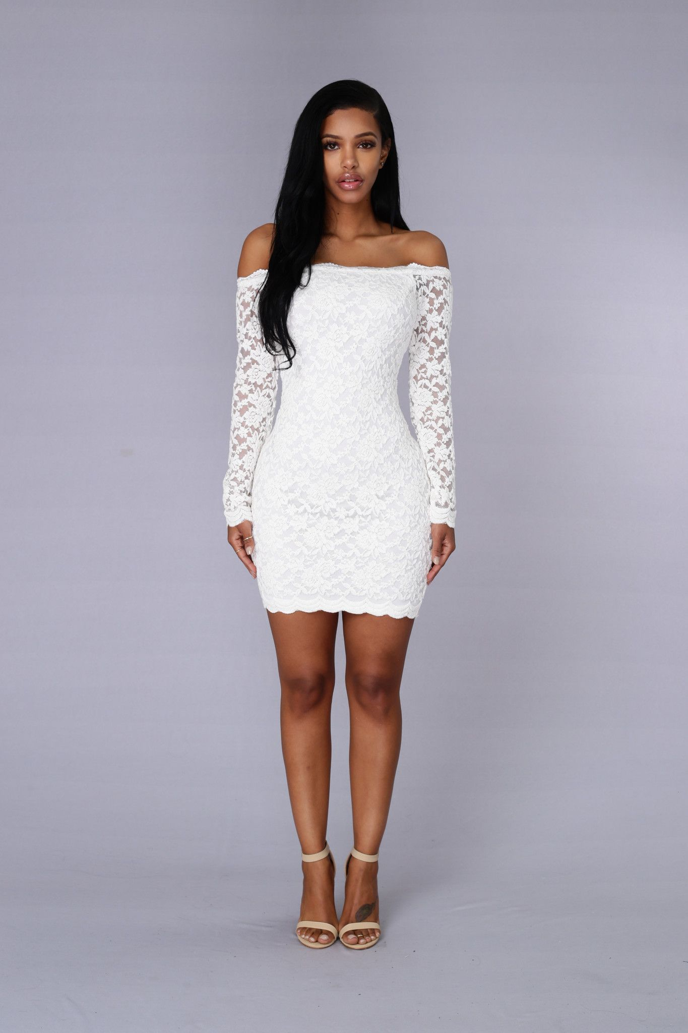 Off Shoulder Lace Bodycon Dress - White  0647d3f3f765