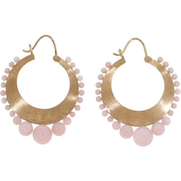 Irene Neuwirth Jewelry Pink Opal Hoops ($3,170) ❤ liked on Polyvore featuring jewelry, earrings, pink jewelry, 18 karat gold earrings, hoop earrings, irene neuwirth and pink opal jewelry