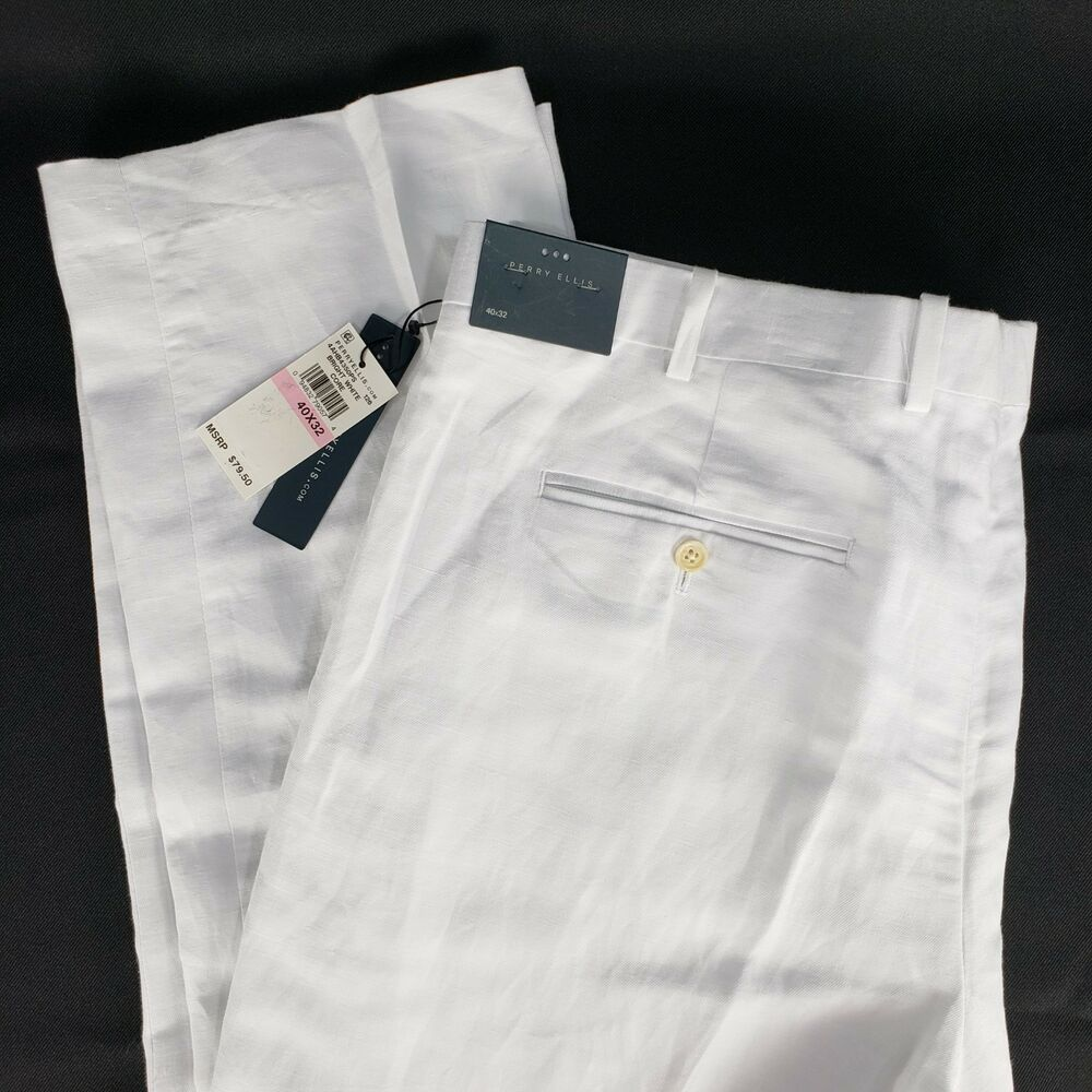 Perry Ellis Linen Dress Pants Tag 40 x 32 Actual 41 x 32 White Slacks Trousers #PerryEllis #Slacks