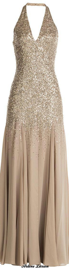 Halston Heritage Sparkling Champagne Gown