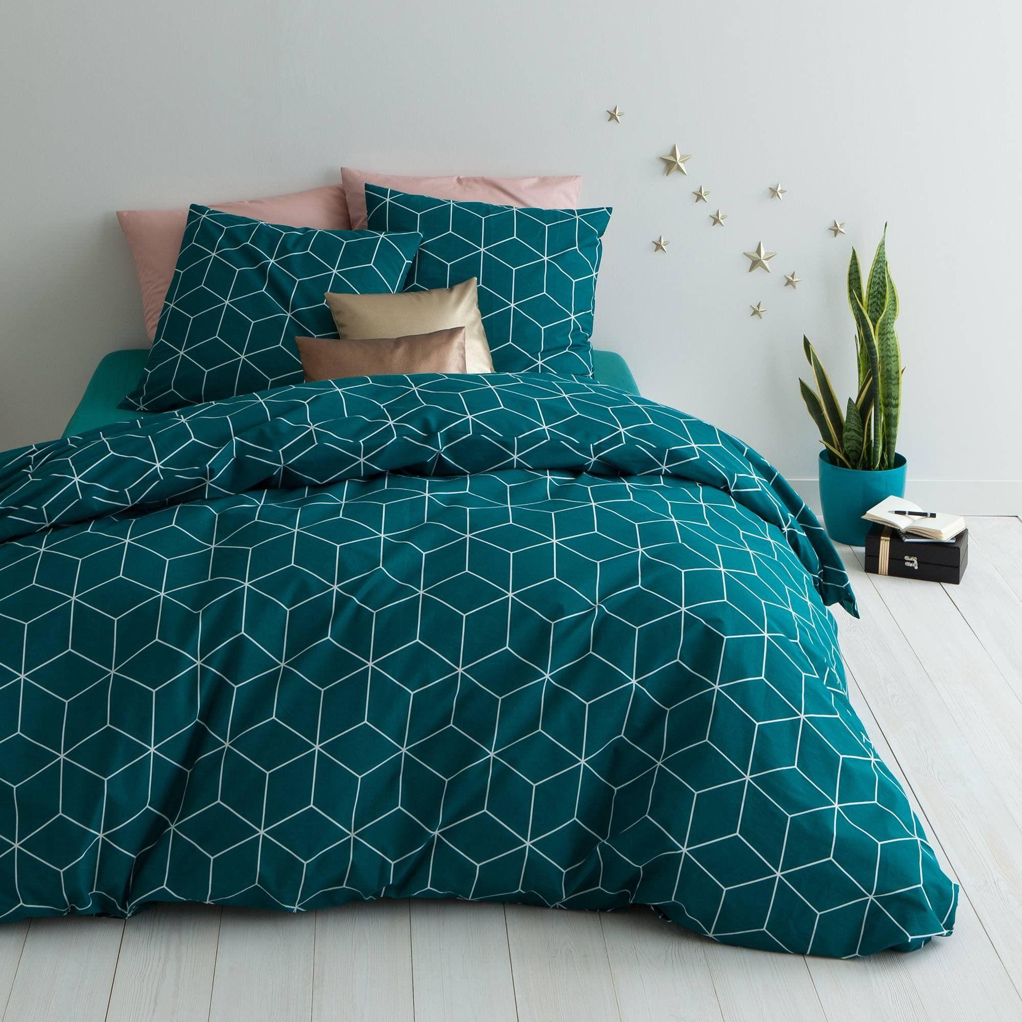 parure housse de couette 1 ou 2 taies coton imprime jehaut vert une parure de lit qui se joue de l optique pour une deco tres originale et tendance