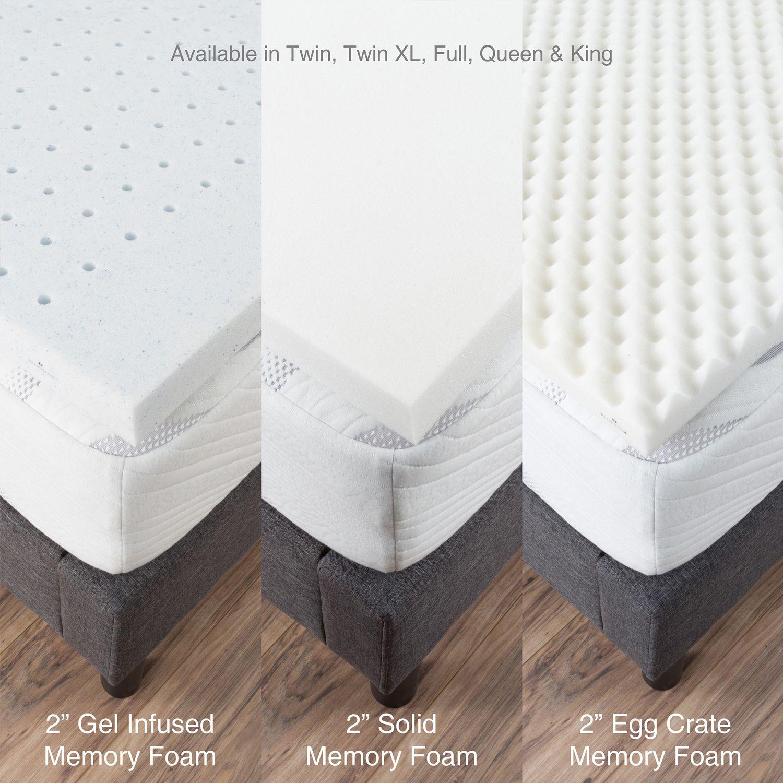 "Egg Crate 2"" Memory Foam Mattress Topper Twin Memory"