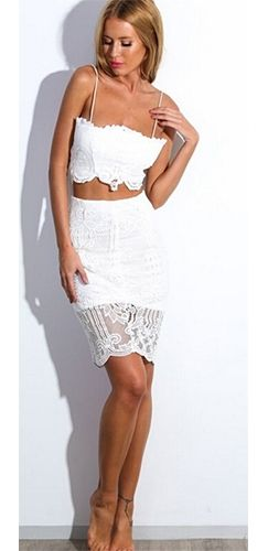 499493bb0d3 Closing Time White Lace Spaghetti Strap Lace Up Back Crop Top Bodycon Two  Piece Mini Dress