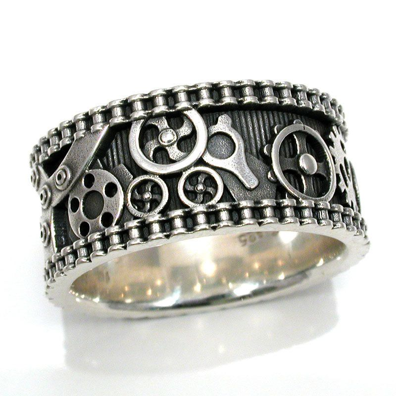 mens bike chain gear ring steampunk by swankmetalsmithing on etsy 26500 - Gear Wedding Ring