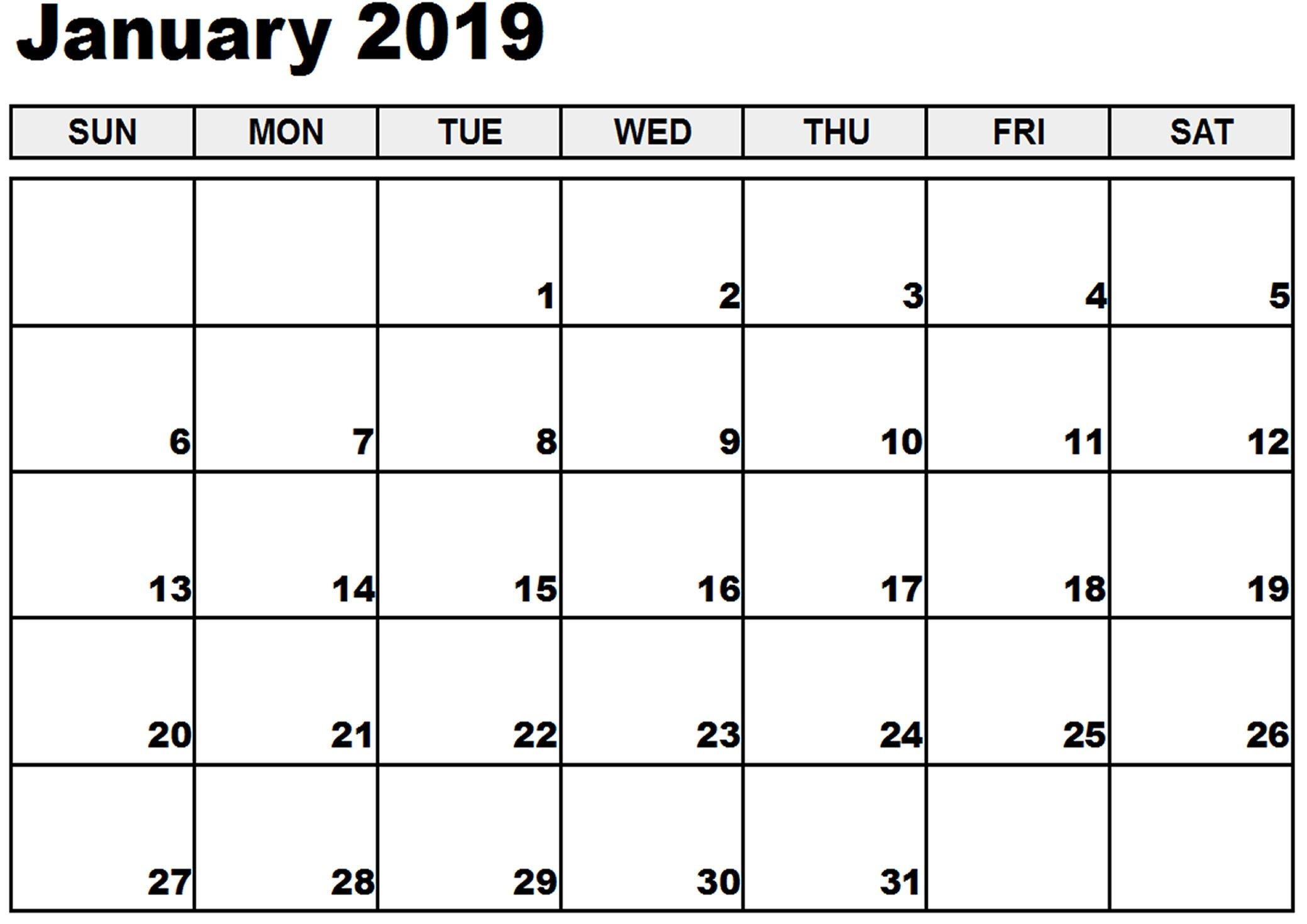 Blank Calendar January 2020 Template Word Excel Printable