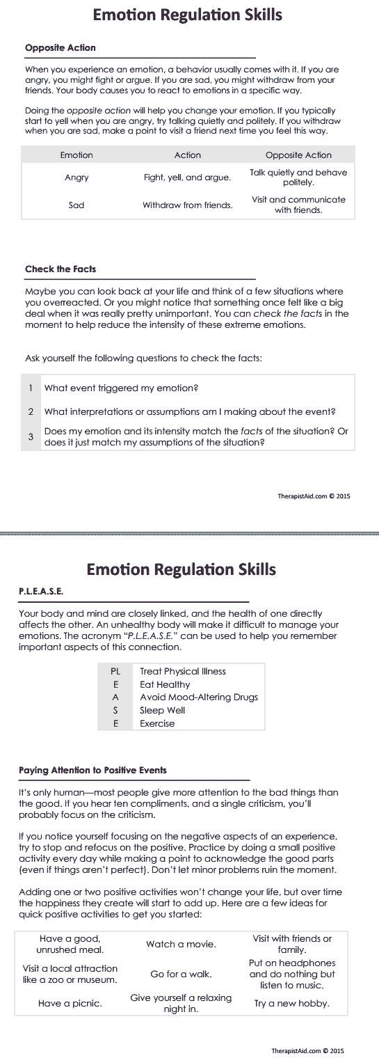 worksheet Dialectical Behavioral Therapy Worksheets dbt emotion regulation skills preview work related pinterest counseling worksheetstherapy